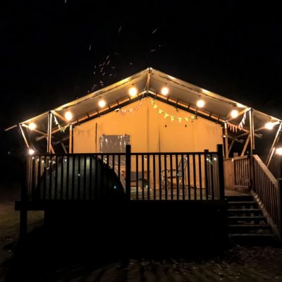 camping with festoon lights