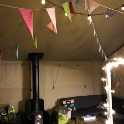 bunting and fairy lights
