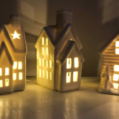 white ceramic light up decorative houses